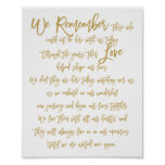 Chic Hand Lettered Wedding Memorial Sign Gold Poster