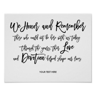 Chic Hand Lettered Wedding Memorial Sign Poster
