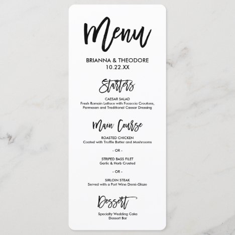 Chic Hand Lettered Wedding Menu