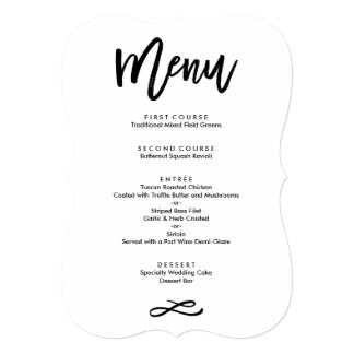 Chic Hand Lettered Wedding Menu Card
