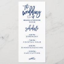 Chic Hand Lettered Wedding Menu Navy Blue