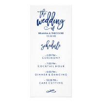 Chic Hand Lettered Wedding Menu Navy Blue