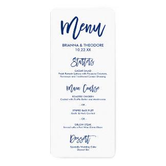 Chic Hand Lettered Wedding Menu Navy Blue Card