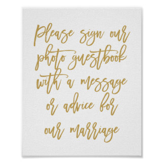 Chic Hand Lettered Wedding Photo Guestbook
