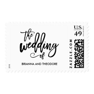 Chic Hand Lettered Wedding Postage Stamp