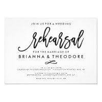 Chic Hand Lettered Wedding Rehearsal Card