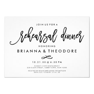 Chic Hand Lettered Wedding Rehearsal Dinner Card
