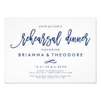Chic Hand Lettered Wedding Rehearsal Dinner Navy Card