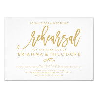 Chic Hand Lettered Wedding Rehearsal Gold Card