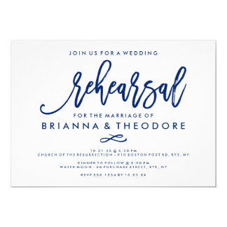 Chic Hand Lettered Wedding Rehearsal Navy Card