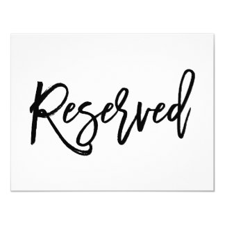 Chic Hand Lettered Wedding Reserved Sign Card