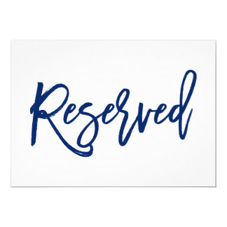Chic Hand Lettered Wedding Reserved Sign Navy Card