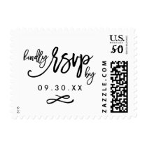 Chic Hand Lettered Wedding RSVP Postage Stamp
