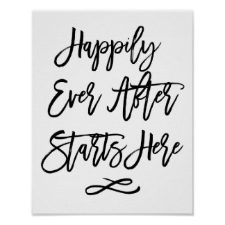 Chic Hand Lettered Wedding Sign Happily Ever After