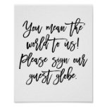 Chic Hand Lettered Wedding Sign Our Guest Globe Poster