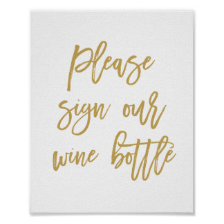 Chic Hand Lettered Wedding Sign Our Wine Bottle Poster