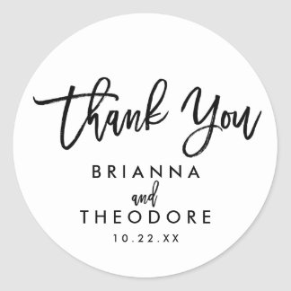 Chic Hand Lettered Wedding Thank You Favor Label