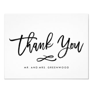 Chic Hand Lettered Wedding Thank You Flat Card