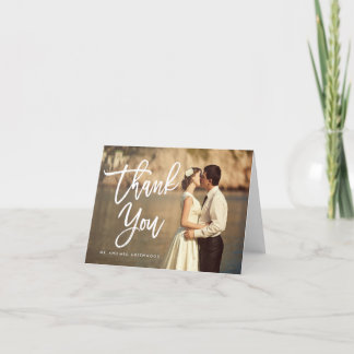 Chic Hand Lettered Wedding Thank You Photo Card