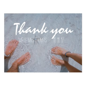 Beach Themed Chic Hand Lettered Wedding Thank You Postcard