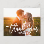 """Chic Hand Lettered Wedding Thank You Postcard<br><div class=""""desc"""">Stylish wedding thank you post card template featuring a photo on the front and back,  """"Thank You"""" in a modern white script font,  and custom text thank you message.</div>"""