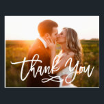 "Chic Hand Lettered Wedding Thank You Postcard<br><div class=""desc"">Stylish wedding thank you post card template featuring a photo on the front and back,  &quot;Thank You&quot; in a modern white script font,  and custom text thank you message.</div>"