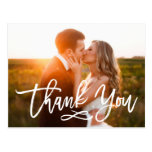 Chic Hand Lettered Wedding Thank You Postcard<br><div class='desc'>Stylish wedding thank you post card template featuring a photo on the front and back,  &quot;Thank You&quot; in a modern white script font,  and custom text thank you message.</div>