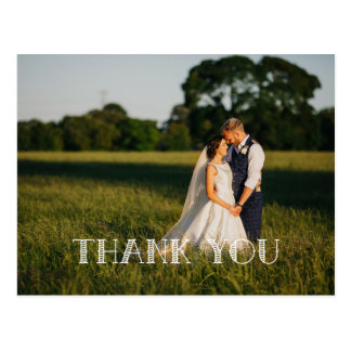 Chic Hand Lettered Wedding  THANK YOU white Postcard