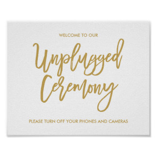 Chic Hand Lettered Wedding Unplugged Ceremony Sign Poster