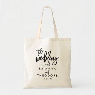 Chic Hand Lettered Wedding Weekend Tote Bag