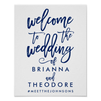 Chic Hand Lettered Wedding Welcome Sign