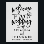 "Chic Hand Lettered Wedding Welcome Sign Black<br><div class=""desc"">Personalized welcome wedding sign with names and hashtag in black and white.</div>"