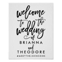 Chic Hand Lettered Wedding Welcome Sign Black