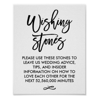 Chic Hand Lettered Wedding Wishing Stones Sign Poster