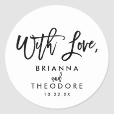 Chic Hand Lettered Wedding With Love Favor Label