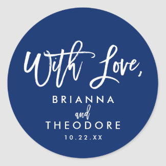 Chic Hand Lettered Wedding With Love Favor Label Classic Round Sticker