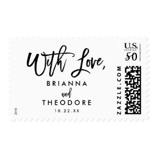 Chic Hand Lettered Wedding With Love Postage Stamp