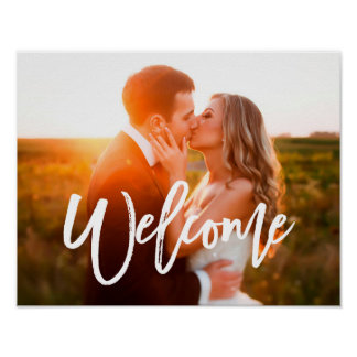 Chic Hand Lettered Welcome Photo Poster