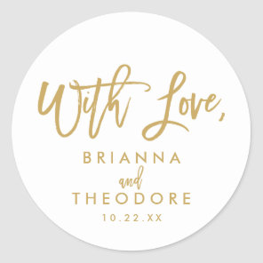 Chic Hand Lettered With Love Favor Label Gold