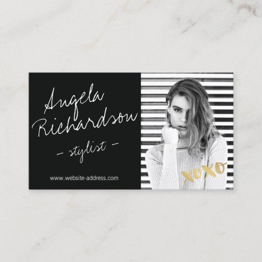 chic handwritten fashion stylist actor model photo business card - Business Card Model