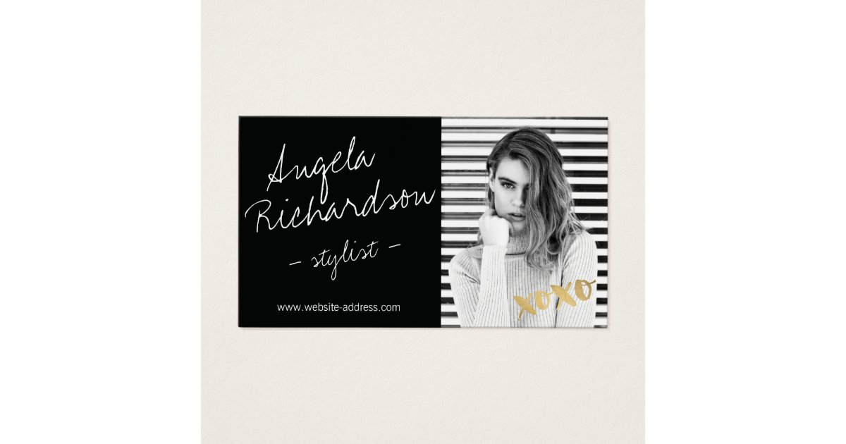 Chic Handwritten Fashion Stylist Actor Model Photo Business Card ...