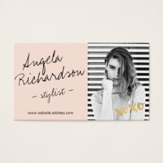 Chic Handwritten Fashion Stylist Actor Model Photo Business Card at Zazzle