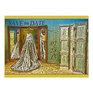 Chic Hanging Wedding Gown Save the Date Invitation