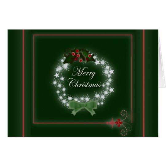 Chic Happy Holiday modern christmas wreath Card