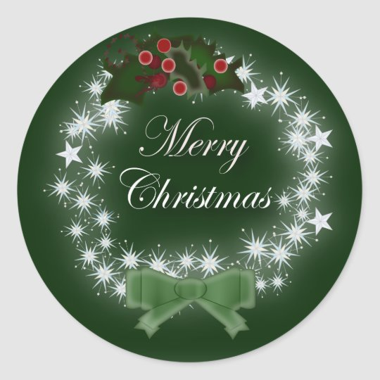 Chic Happy Holiday modern christmas wreath Classic Round Sticker