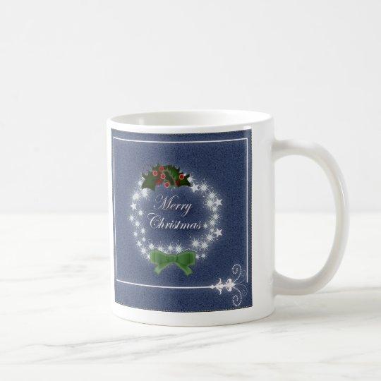 Chic Happy Holiday modern christmas wreath Coffee Mug