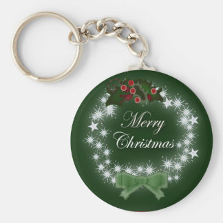 Chic Happy Holiday modern christmas wreath Keychain