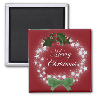 Chic Happy Holiday modern christmas wreath Magnet