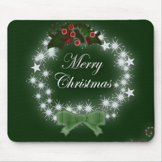 Chic Happy Holiday modern christmas wreath Mouse Pad