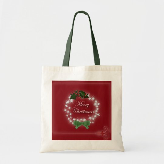 Chic Happy Holiday modern christmas wreath Tote Bag